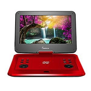 Impecca 13.3 Inch Portable DVD Player, Swivel Screen, 5 Hour Rechargeable Battery, with USB/SD Card Reader, And Deluxe Travel Bag, Red (DVP1330R)