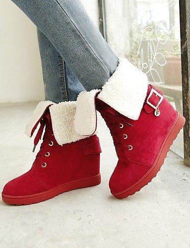 Casual Cn36 Black Xzz Negro Red Cn39 Uk4 A Eu39 Vestido Zapatos Redonda Punta Mujer us6 La Botas Moda Uk6 Cuñas Tacón us8 Vellón Eu36 Cuña Rojo De OBFrqwO