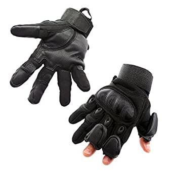 Mili-MIT Tactical Glove with Patented 3 Retractable Finger Technology- With Carbon Fiber woven Knuckle protection and a high strength wrist strap