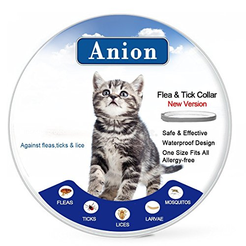 Flea Tick Collar for Dogs and Cats (Grey) - Repel & Prevent Fleas, Pests, Insects,Water Resistant,8 Month Protection,One Size Fits All(New Version) (20180207-Cat)