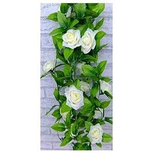 Artificial Rose Silk Flower Green Leaf Vine Garland Home Wall Party Decor Wedding Decal X 1 9