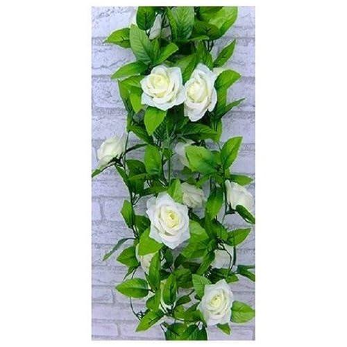 Wedding arch decorations amazon 1 x artificial rose silk flower green leaf vine garland home wall party decor wedding decal beiges mightylinksfo