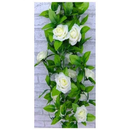 Price comparison product image 1 X Artificial Rose Silk Flower Green Leaf Vine Garland Home Wall Party Decor Wedding Decal (Beiges)