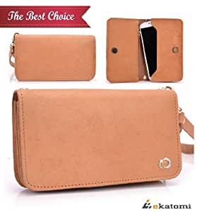 Universal, Genuine Leather Women's Wallet with Wrist Strap Clutch Compatible with Nokia E62 Case - TAN BROWN. Bonus Ekatomi Screen Cleaner