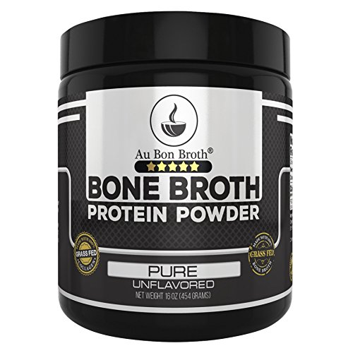 Genuine Grass Fed Organic Bone Broth Protein Powder Collagen 16oz. Pure/Unflavored 28 Servings, Mixes Instantly, Gluten Free, Pasture Raised, 100% Sourced, Made in USA, NOT from Concentrate