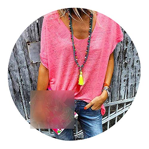 Women Casual Loose Streetwear Blouses Summer Sexy V Neck Top Sweet Short Sleeve Shirt,02 Pink,4XL]()