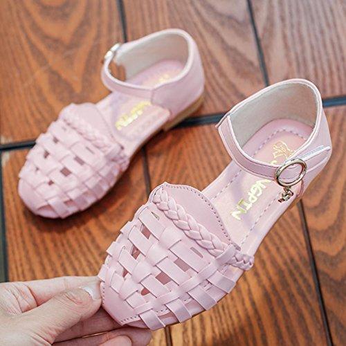 Prevently Sommer Kinder Jungen Mädchen Casual Sandalen Schuhe Mädchen Einfarbig Woven Hohl Prinzessin Schuhe Flachen Sandalen Rosa
