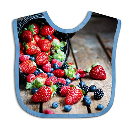 - Delicious Fruit Strawberry Blackberry Baby Bibs,for Drooling and Teething, Organic Cotton, Soft