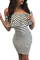 Chase Secret Womens Off Shoulder Stripe Ruffle Bodycon Mini Club Dress