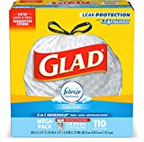 Glad Tall Kitchen Drawstring Trash Bags - OdorShield 13 Gallon White Trash Bag, Febreze Fresh Clean - 110 Count