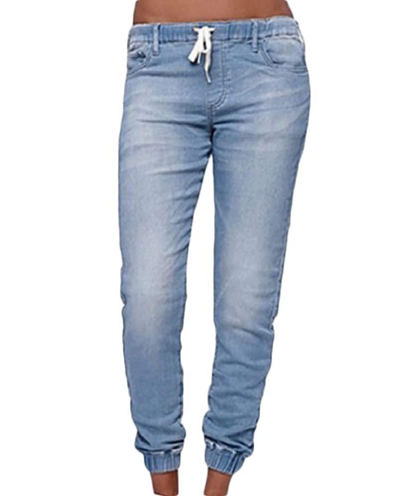 563da919986 Mujeres Cordón Cintura Elástica Vaqueros Slim Fit Joggers Jeans Mezclilla  Pantalones Azul Claro 2XL  Amazon.es  Deportes y aire libre