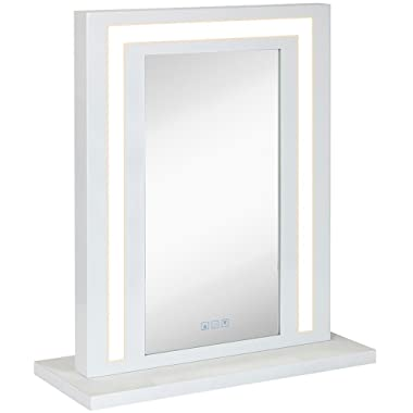 Modern White Hollywood Vanity Mirror with Lights - Makeup Dressing Table or Wall Mounted Mirror with Digital LED Lighting with Dimmer and Outlet