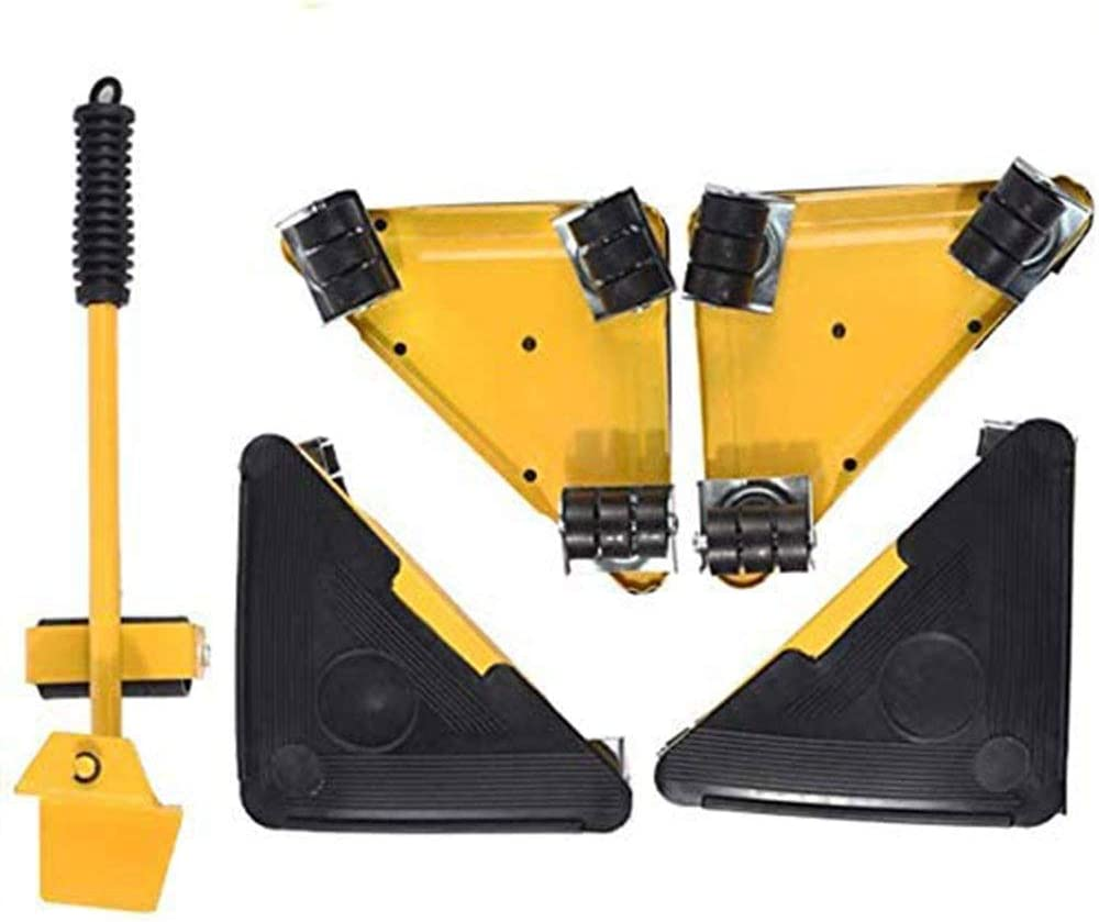 YXMG Furniture Lifter with 4 Pack Moving Roller Set Heavy Furniture Roller Move Tools Max Up for 400KG 360 Rotatable Pads Hand Tools Large Furniture Transport Lifter Heavy Mover Tool,Yellow