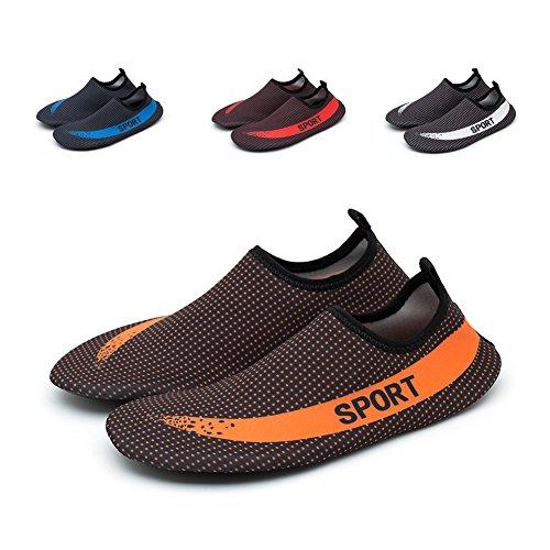 Mannen Vrouwen Sneldrogend Atletisch Barefoot Zacht Water Schoenen Lichtgewicht Aqua Sokken Voor Strand Hardlopen Surfen Yoga Oefening Mxstar Moon Orange