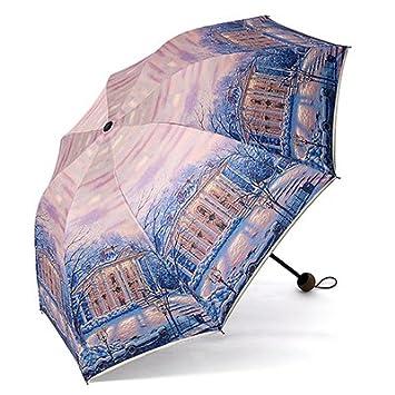 PEIWENIN-Lady paraguas UV paraguas patrón creativo plegable paraguas soleado día lluvioso viaje general paraguas