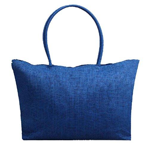 Lona Cremallera Paja Shopper Playa Grande Mano Mujer De Quicklyly Hombro Azul Bolso Con Bolsa q4Bnt