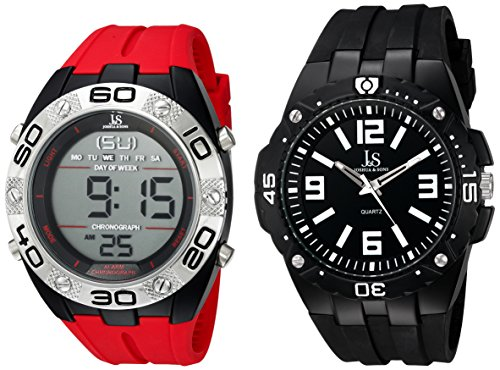 Joshua & Sons Men's JS7402 Analog-Digital Display Swiss Quartz Watch Set