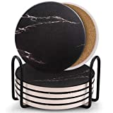 Coasters for Drinks, Ceramic Stone Coaster Set with