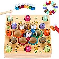 魚釣りおもちゃ 木製 お釣りゲーム 知育玩具 釣り竿教育 キッズ 木...