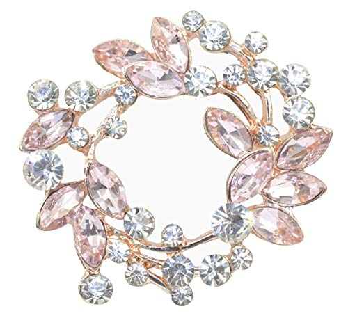 (Gyn&Joy Pink Rhinestone Crystal Floral Wreath Bouquet Wedding Brooch Pin BZ005PN)