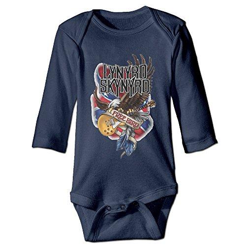Sleeve Lap Neck Tee (Kids Baby Lynyrd Skynyrd Rock Band Romper Jumpsuit Navy)