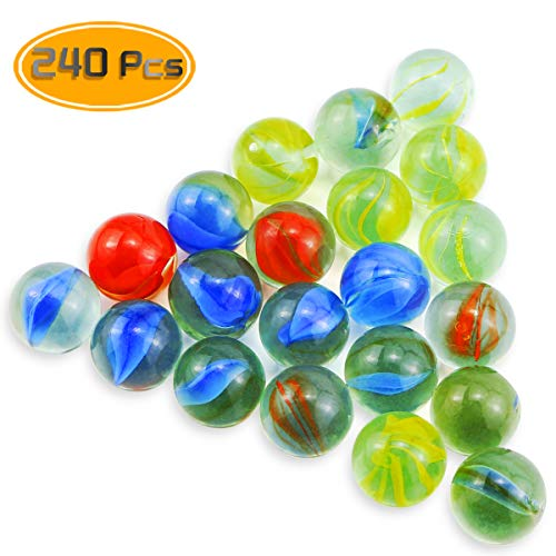 Oruuum 240 Pcs Small Marbles and 14mm Marbles in Bulk Glass Marbles, Assorted Colors. ()