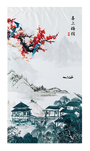 Traditional Chinese Ink Landscape and Plum Trees Washpainting Pattern Door Curtain Japanese Noren Curtain Bedroom Curtain Doorway (Japanese Tapestry)