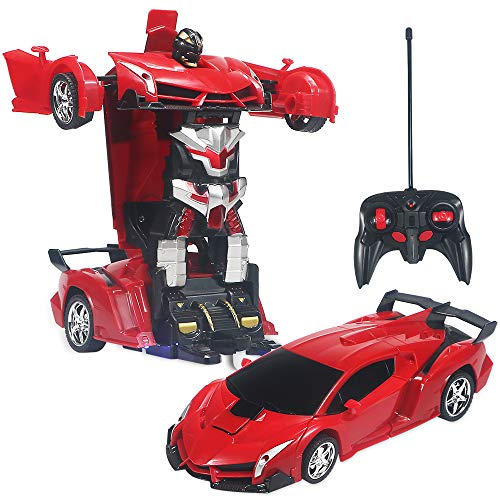Samate Transformation Car Toy for Kids, Electric Car Model with Remote Controller,RC Car One Button Transforms into Robot (Red)