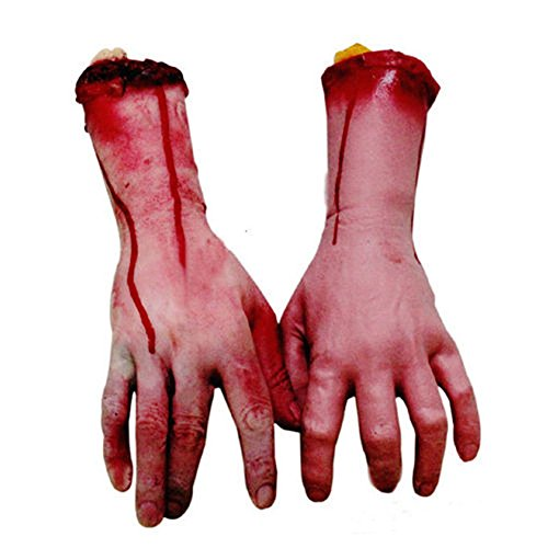 GogoForward Bloody Horror Scary Halloween Prop Fake Severed Lifesize Arm Hand Haunted House (Life Size Severed Hand)