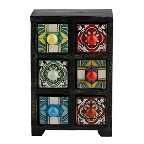 detailing 31667 861f8 Curios 6 Drawer Black Wood Apothecary Chest