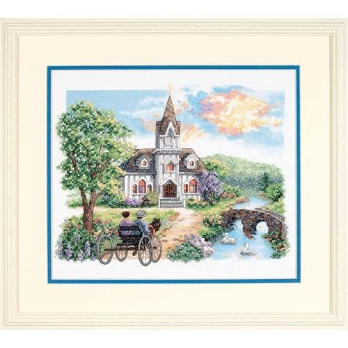Dimensions Needlecrafts Stamped Cross Stitch, Country Church (Cross Country Stitch Garden)