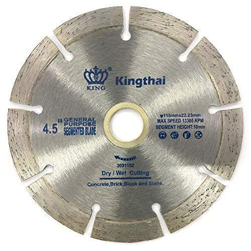 Kingthai 4 1/2 Inch Wet Dry Segmented Cutting Concrete Diamond Saw Blade for Masonry with 7/8-5/8 Inch Arbor