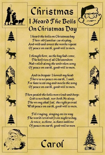 I Heard The Bells On Christmas Day Lyrics.A4 Size Parchment Poster Christmas Carol Lyrics I Heard The