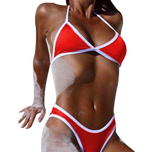 ZYooh Sexy Push-up Padded Bra Bandage Bathing Swimsuit Straps Halter Swimwear Two Piece Bikini Set For Women Girl (L, - In Bathing Suits Females