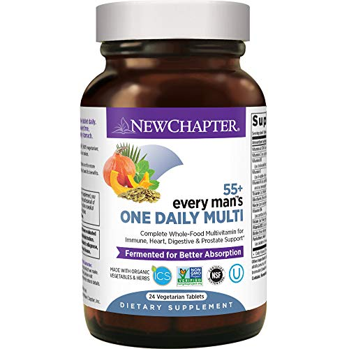 New Chapter Multivitamin for Men 50 Plus - Every Mans One Daily 55+ with Fermented Probiotics + Whole Foods + Astaxanthin + Organic Non-GMO Ingredients -24ct (Packaging May Vary)