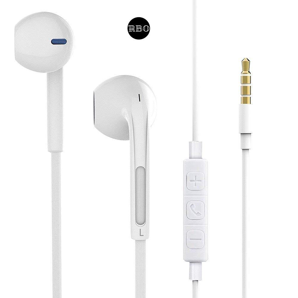 Ecouteurs Intra-Auriculaires Filaires par RBO - Kit Piéton Muni d\'un Micro et Contrôle de Volume - Kit Main Libre avec Une présence de Bass Compatible avec Les Smartphones avec Jack 3.5mm (2 Pack)