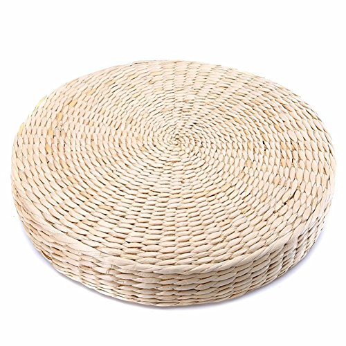 MOOUS Woven Straw Seat Cushion Pad,2PCS Handmade Straw Round Tatami Yoga Floor Seat Pillow Cushions Breathable Japanese Tatami Floor Pillow Meditation Pillow for Home(40cm x 6 cm)