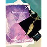 Smiling Wisdom - Happy Birthday Angel Wing Birthday Gift Set - Greeting Card - Angel Wing Key Chain Gift Set for an Awesome Friend, Sister, Mom, Daughter - Gold with Rhinestones
