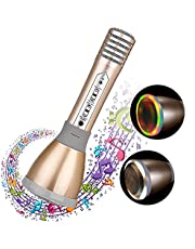 Karaoke Microphones Wireless Bluetooth Microphone Karaoke With Flash LED, Magic Voice, Aluminum alloy handle, Speaker,Compatible iOS/Android/iPad/PC and All Smartphone