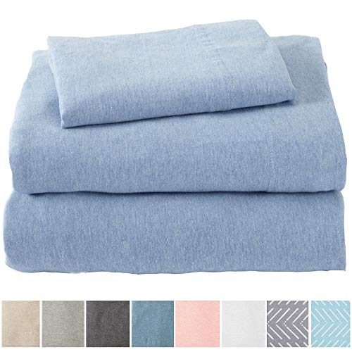 Great Bay Home Extra Soft Heather Jersey Knit (T-Shirt) Cotton Sheet Set. Soft, Comfortable, Cozy All-Season Bed Sheets. Carmen Collection Brand. (King, Sky Blue)