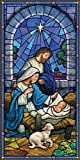 Christmas Nativity Stained Glass Style Church Banner, 5 Foot