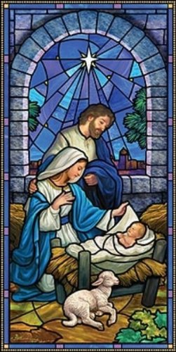 Christmas Nativity Stained Glass Style Church Banner, 5 ()