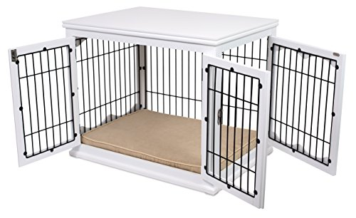 Internet's Best Decorative Dog Kennel with Pet Bed - Small Dog - Double Door - Wooden Wire Dog House - Large Indoor Pet Crate Side Table - White
