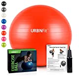 URBNFit Exercise Ball (Multiple Sizes) for Fitness, Stability, Balance & Yoga - Workout Guide & Quick Pump Included - Anti Burst Professional Quality Design (Red, 65CM)