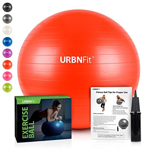URBNFit Exercise Ball (Multiple Sizes) for Fitness, Stability, Balance & Yoga - Workout Guide & Quick Pump Included - Anti Burst Professional Quality Design (Red, 65CM) by URBNFit