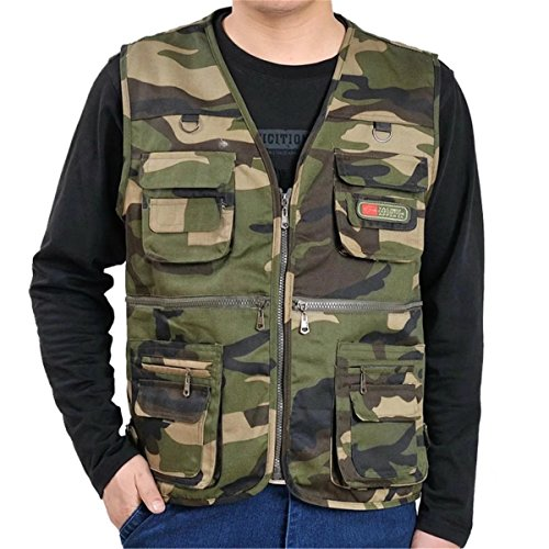 DigerLa Men's Casual Work Utility Hunting Sports Camo Multi Pockets Vest Green,X-Large / 46 (Camouflage Mens Vest)