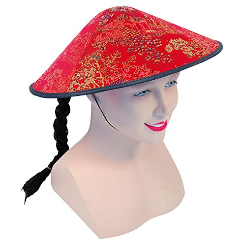 Forum Novelties Red Ladies Chinese Coolie Hat with Plait -