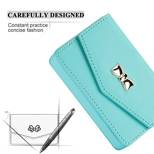 FYY Business Card Holder, Handmade Premium Leather Business Name Card Case Universal Card Holder with Magnetic Closure (Hold 30 pics of Cards) MintGreen