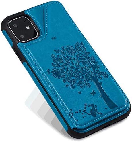 iPhone 11 PUレザー ケース, 手帳型 ケース 本革 ポーチケース 財布 カバー収納 全面保護 ビジネス 手帳型ケース iPhone アイフォン 11 レザーケース