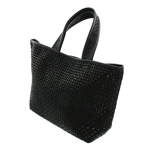 Moderne schwarze Shopping-Tasche in Karo-Optik verflochten